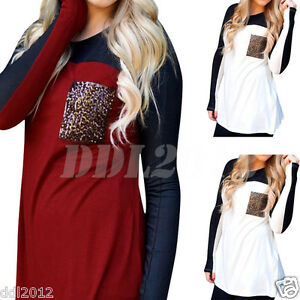 Fashion-Women-Ladies-Long-Sleeve-Loose-Casual-T-Shirt-Pocket-Blouse-Cotton-Tops
