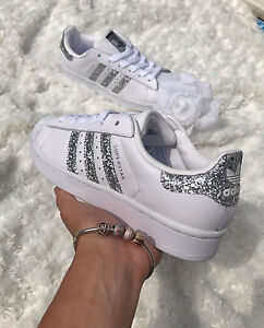 official photos dd220 c9539 Image is loading Adidas-Superstar-White-Metallic-Silver-Glitter -Womens-Trainers-