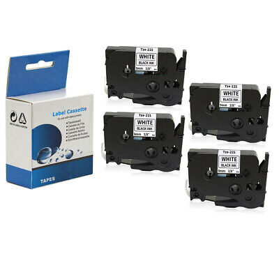 """6 Pack TZe-221 TZ221 Label Tape Cassette Compatible for Brother P-Touch 9mm 3//8/"""""""