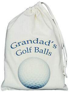 GRANDAD-039-S-GOLF-BALLS-BAG-SMALL-NATURAL-COTTON-DRAWSTRING-BAG-Blue-design