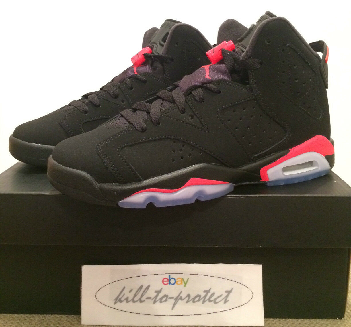 NIKE AIR JORDAN 6 Noir INFRARouge GS BG Sz 4.5Y 5Y 5.5Y 6Y KIDS 384665-023 2018
