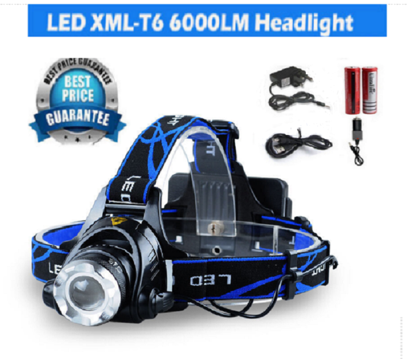 6000Lm LED Headlight Torch Cree T6 Running Rechargeable Headlamp Head Light Lamp