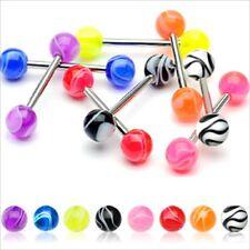 "1 PIECE 14g 5//8/"" Swirl Stripe UV Acrylic Tongue Nipple Barbell Ring #18"
