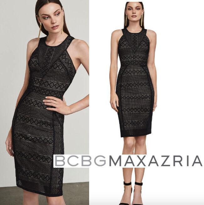 NWT BCBG MAXAZRIA DENA Diamond lace DRESS schwarz Nude Größe XS 2 4