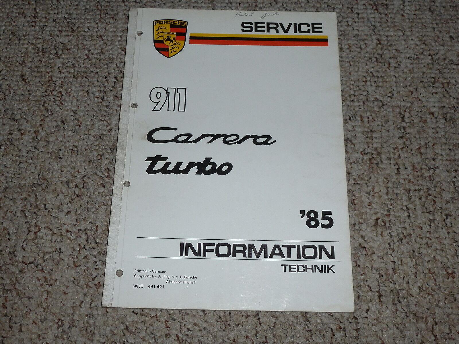 1985 Porsche 911 Carrera Turbo Shop Service Repair Manual Coupe Targa Cabriolet