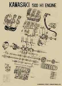 Vintage Kawasaki H1 500 Exploded Engine Motor Diagram Poster 2' x 3