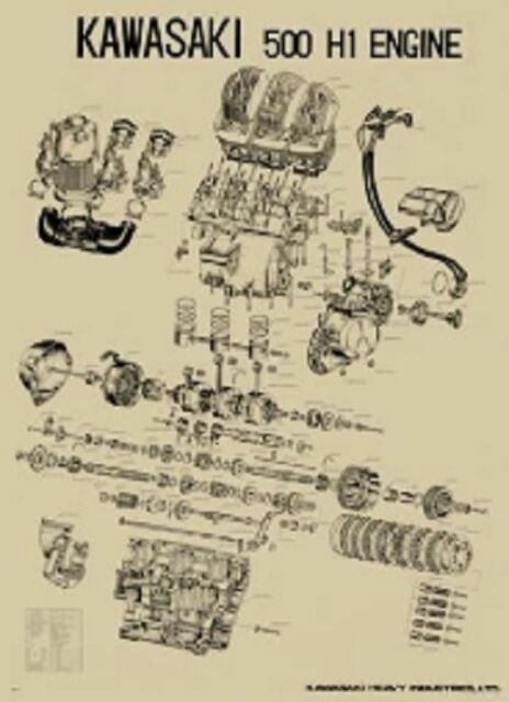 Vintage Kawasaki H2 750 Exploded Engine Motor Diagram Poster 2' X 3