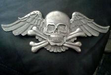 Silver Skull & Crossbones Skelton Angel Wings Belt Buckle Cosplay Costume
