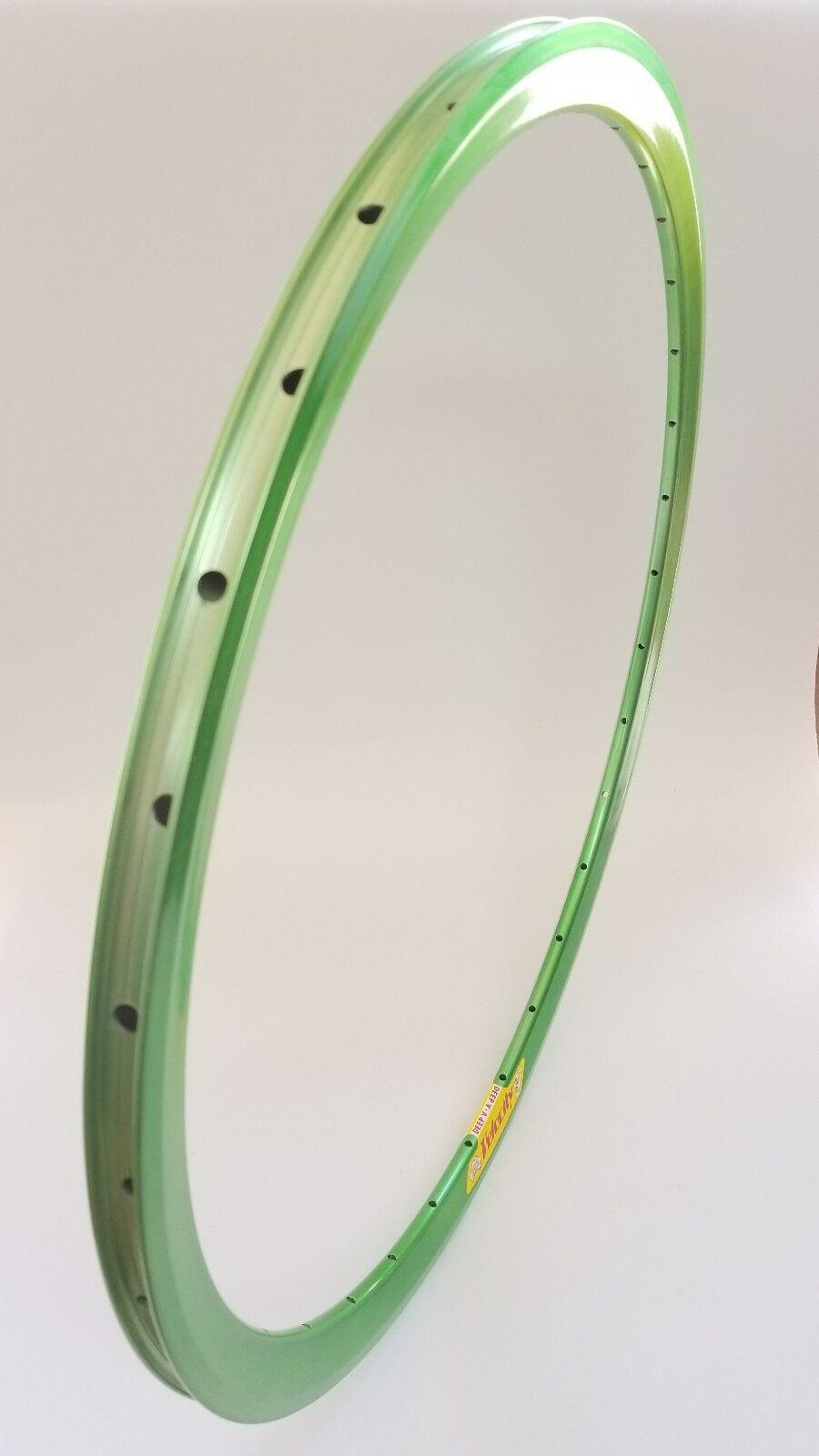 Velocity Deep V Bicycle Rim, 650C, Candy verde Powder Coat, 32 Hole