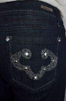 La Idol Embroidered Crystal Pocket Dark Blue Denim Jeans Size 11