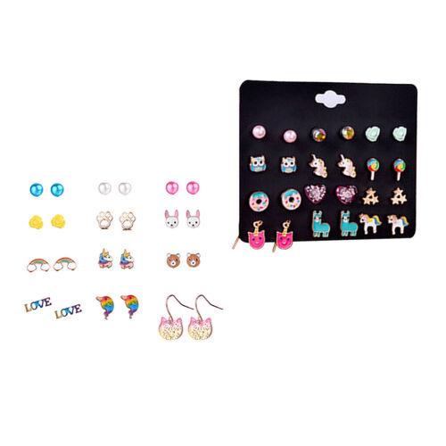 12Pairs Cute Stud Earrings Cartoon Unicorn Womens Charm Trendy Jewelry Gifts