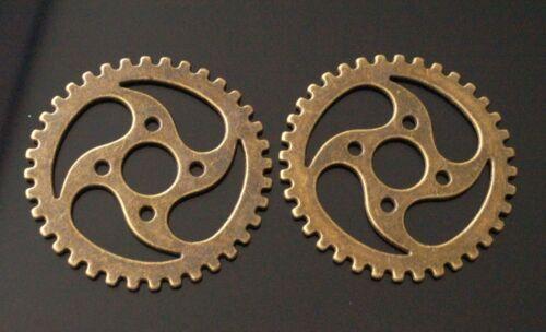 5 Grand Métal Antique Bronze Steampunk Rouages et Engrenages Charm Pendentif 39 mm TSC06