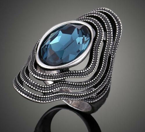 Silver Vintage Blue Sapphire Oval shape Flower Ring Size 6,7,8