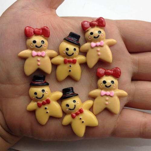 10pcs Gingerbread WoMan//Man Resin Flatback Cabochon ScrapbookIng for phone//craft