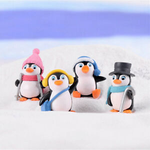 4-Mini-Winter-Pinguin-Fee-Garten-Moos-Miniaturen-Dekoration-Puppenhaus-De-Pw