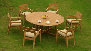 7-PC-OUTDOOR-DINING-TEAK-GARDEN-SET-72-034-ROUND-TABLE-6-STACKING-ARM-CHAIRS-CEL