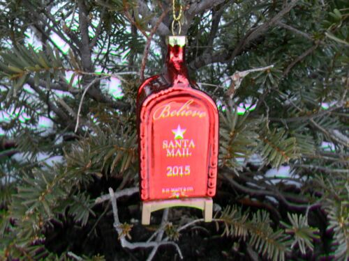 2015 YES VIRGINIA  MACY/'S  Glass CHRISTMAS ORNAMENT  RED MAILBOX NEW