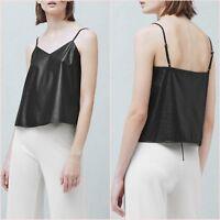 Black Faux Leather Cami V Neck Top Mango Size XS S M L 6 8 10 12 Zara Blogger ❤