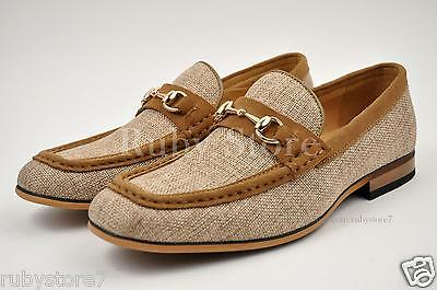 La Milano Mens Beige Genuine Leather & Linen Casual Shoes Loafers Slip On A1870B
