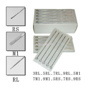 50Pcs Tattoo Needles Pins Assorted Lining and Shading Sizes RL RS M1 10 Sizes