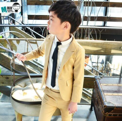 2pcs Kids Toddler Boy Gentleman Blazer Suit Coat+Pants Wedding Party Outfits Set