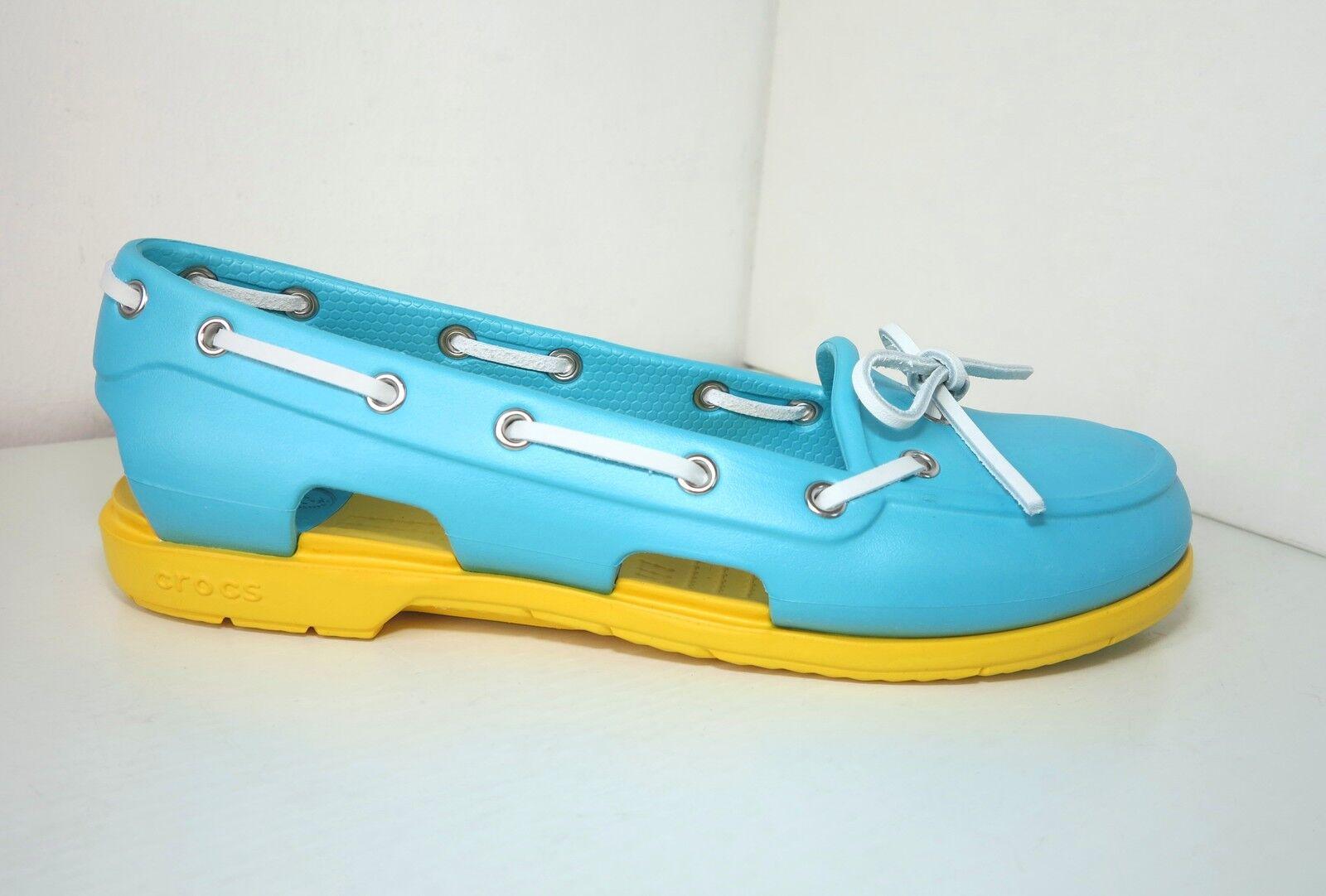 Crocs Ballerina Segelschuhe türkis W 10 40 41  beach line boat schuhe aqua gelb