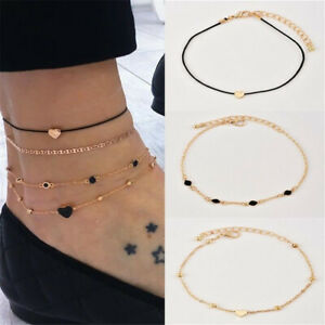 4pcs-Set-Women-Jewelry-Gold-Plated-Heart-Beads-Ankle-Chain-Foot-Anklet-Bracelet