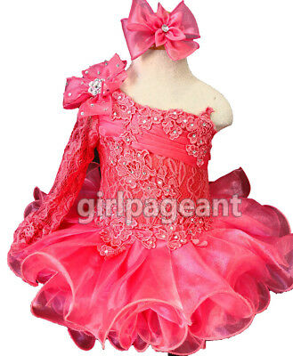 Infant//toddler//baby Coral Lace Long Sleeve Stones Pageant  Dress G086-4
