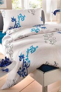 Bettwäsche Garnitur Bettgarnitur 160x210 cm Weiß Hotelqualität 100/% Baumwolle