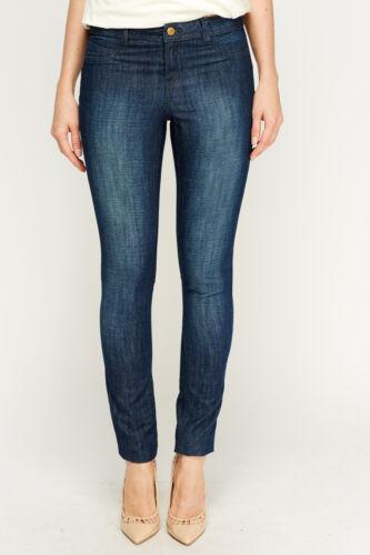 Le Donne Blu Scuro Lavaggio Denim Slim Leggings Sottili Lungo Dritto Jeans Tasca Pantaloni
