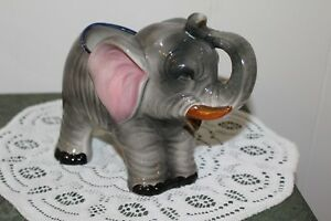 Vintage Large Ceramic Elephant With His Trunk Up Planter