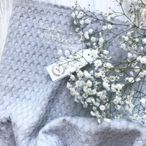 First Blanket New Grey Baby Waffle Blanket Woven Combed Cotton Ideal Gift