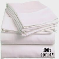 6 White King Size Hotel Flat Sheets 108x110 200 Threadcount 100% Cotton on sale