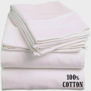 4 NEW WHITE KING SIZE HOTEL FLAT SHEETS 108X110 200 THREADCOUNT 100% COTTON