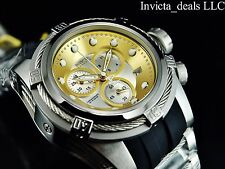 Invicta Mens Reserve 52mm Bolt Zeus SWISS MADE ETA Chrono Gold/Silver Dial Watch