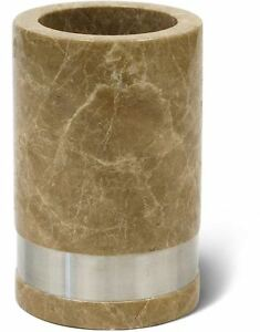 Taupe Ivory Marble Tumbler Bath Cup Brush Gargle Toothbrush Toothpaste Holder