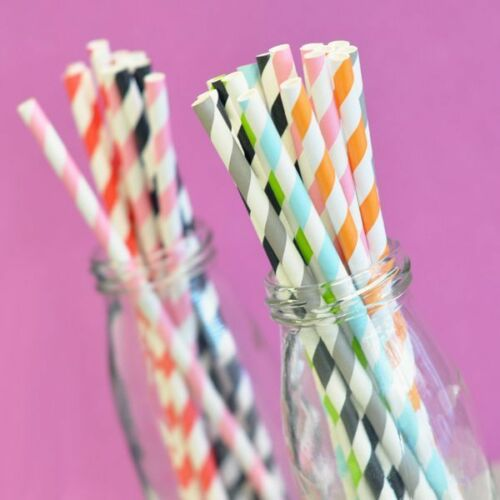Party Decorations Fun Colorful Diagonal Striped Straws Birthday Wedding