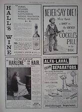 "1899 ADVERT HALL'S WINE-COCKLE'S PILL-EDWARDS ""HARLENE""-ALFA LAVAL SEPARATORS"
