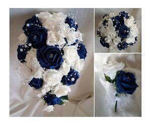 Novias-Damas-de-honor-Ramo-Novia-Flores-Azul-marino-Marfil-Blanco