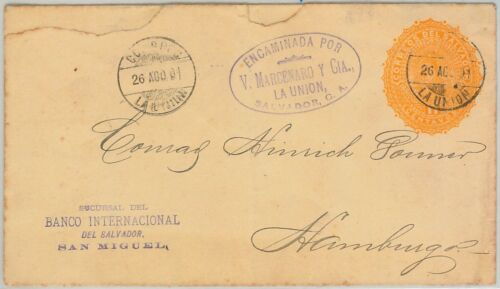 51084 EL SALVADOR POSTAL HISTORY POSTAL STATIONERY COVER to GERMANY 1901