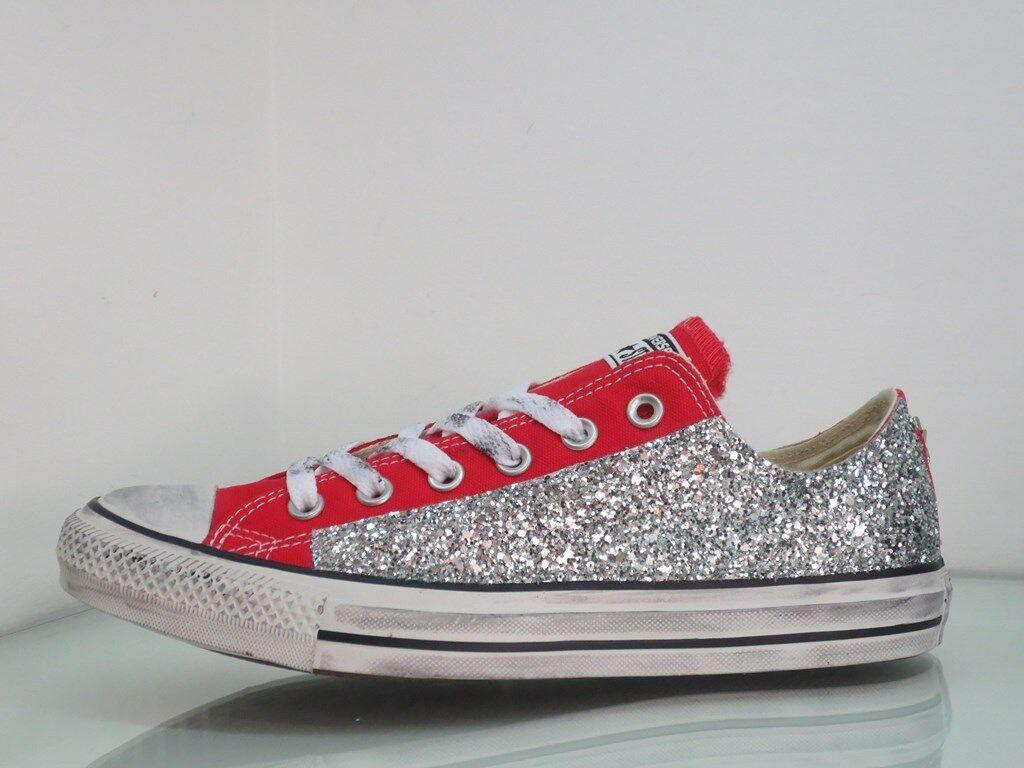 Converse all star OX Rosso glitter Argento artigianali