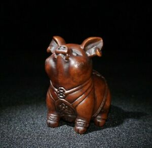 fengshui Noble old boxwood carve Lucky pig wealth statue Japanese Netsuke decor