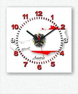 Details zu Design Handarbeit Austria Funk Wanduhr Österreich Wohnzimmer  Küche Büro Uhr neu
