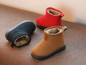 Fheaven Toddler Baby Girls Snow Boots Warm Solid Casual Anti-Slip Flock Fur Lined Booties