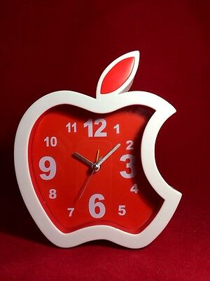 CUTE ALARM CLOCK SILENT WALL DESK ANALOG CLOCK BATTERY POWERED APPLE-SHAPED