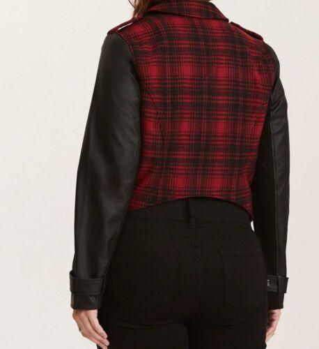 mélangé carreaux de rouges rouge moto Large à 10 00x et noirs 99939 Veste Med en tissu BRAdAqI