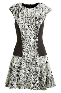 TED-BAKER-LONDON-Graice-Snake-Print-Contrast-Shift-Dress-NWT-Black-TB-4-US-10
