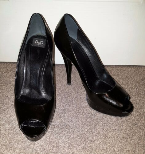 38 Heels Used Pre Leather Womens Gabbana 5 D Dolce Owned amp;g Size Ladies Black xSOWX1