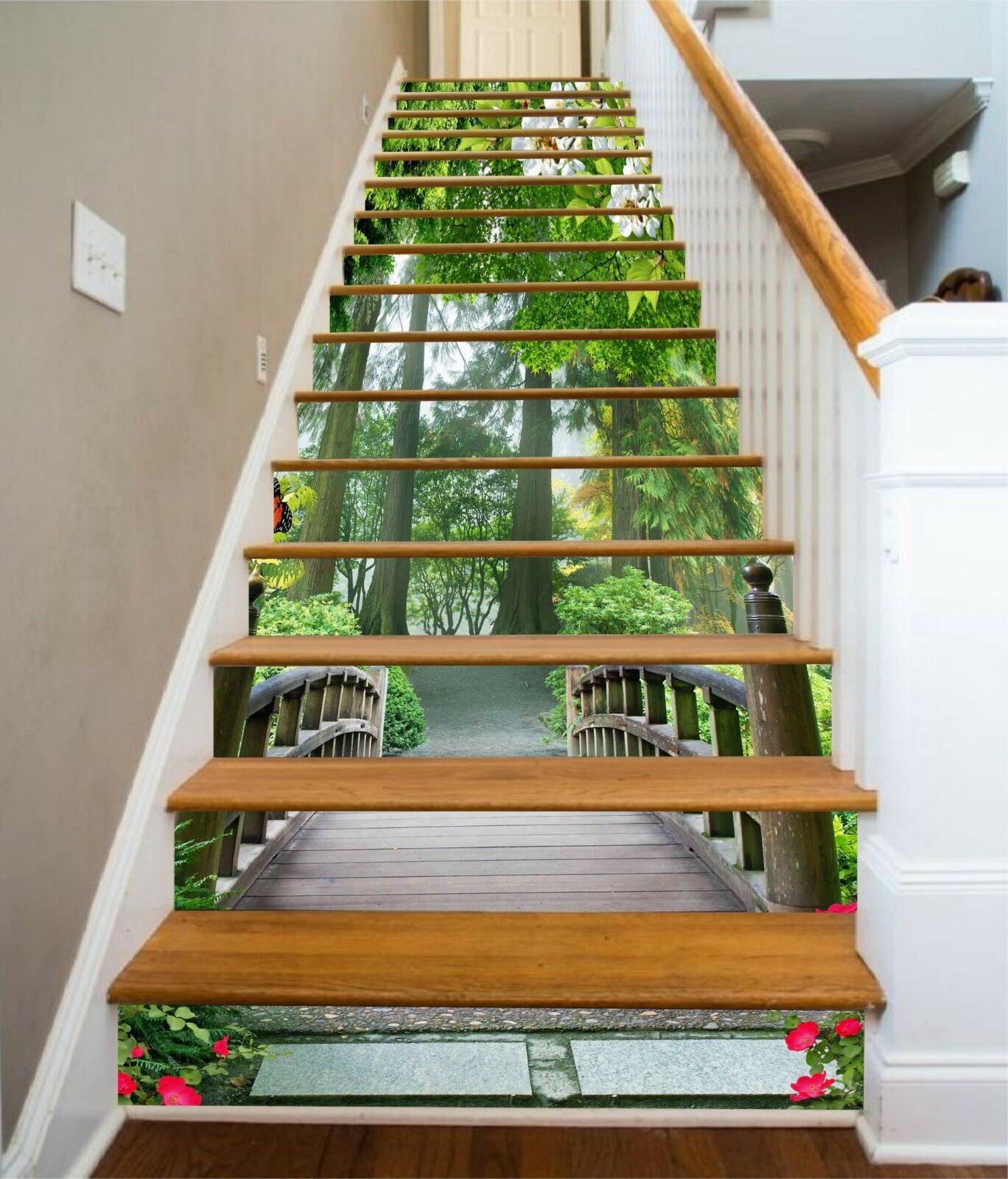3D Bridge Trees 2 Stair Risers Decoration Photo Mural Vinyl Decal Wallpaper CA
