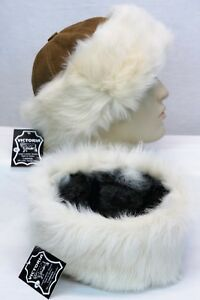 29f1f360 Image is loading Camel-Cognac-100-Sheepskin-Shearling-Leather-Fur-Beanie-